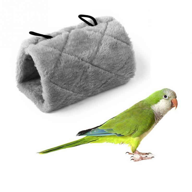 Warm Canary Hut Nest Parrot Bird Hamster Hammock Hanging Cave Cage Plush Tent Bed Bunk Parrot With Buckles