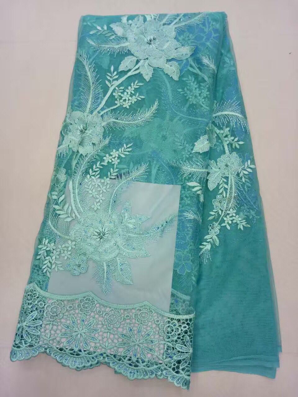 Fashion fabric textiles/ tulle lace net lace /wholesale embroidery african lace fabrics stone for wedding dress Teal green (JL