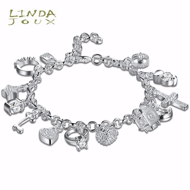 Lindajoux Silver Color Bracelet Hanging 13 Charm Bracelets For Women
