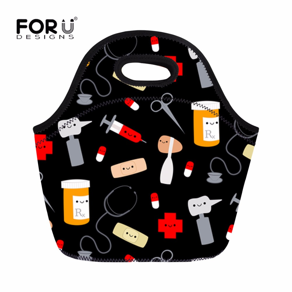 FORUDESIGNS Lunch Bag Happy Doctor Cute Printed Thermal Insulated Neoprene Cooler Lunch Box Women Kids Food Tote Bolsa Termica