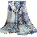 2017 Nueva Moda Personalizada Diseño Español Bufanda Femenina Impreso Patchwork Peso Ligero Suave Viscosa Bufandas de Estilo Europeo