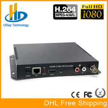 Dhl-freies Verschiffen MPEG4 HDMI + CVBS/Composite/BNC + R/L Audio Video Audio Encoder H.264 IPTV HD Live-Streaming Encoder