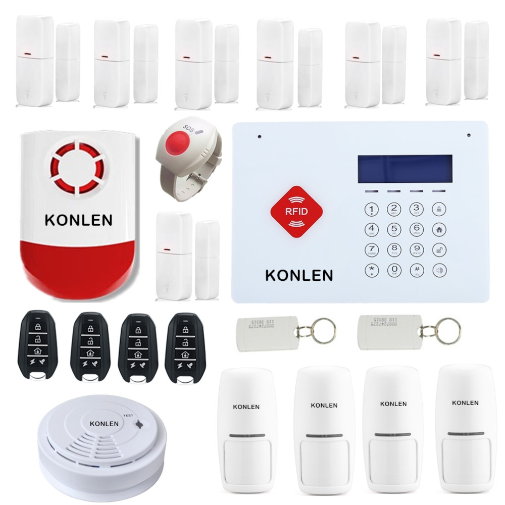 H35 Rfid Wireless Gsm Home Security Alarm System Burglar Touch Control Keypad Lcd Voice With 433 Wrist Sos Strobe Siren Smoke Detector In Kits From