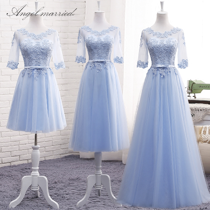 Angel married simple   bridesmaid     dresses   half sleeve blue wedding party   dress   junior wedding guest   dress   vestido de festa 2018