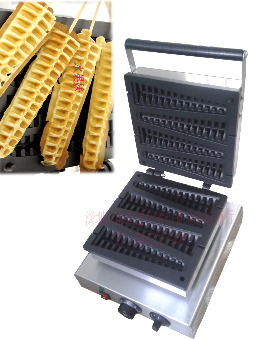 with shipping cost Electric 110v or 220v Commercial Loyy waffle maker machine Non-Stick Lolly waffle stick 4 pcs a plate commercial non stick 110v 220v electric 4pcs lolly waffle on a stick maker iron machine with drip tray