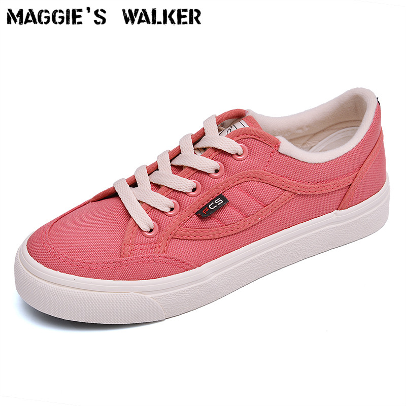 Maggie's Walker Women Canvas Shoes Colorful Casual Shoes Lacing Platform low-top Canvas Outdoor Shoes Size 35~40 e lov women casual walking shoes graffiti aries horoscope canvas shoe low top flat oxford shoes for couples lovers