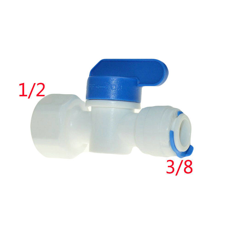 2Pcs Equal Straight 1/2 Female-3/8 Tube Ball Valve Swicth Quick Connection RO