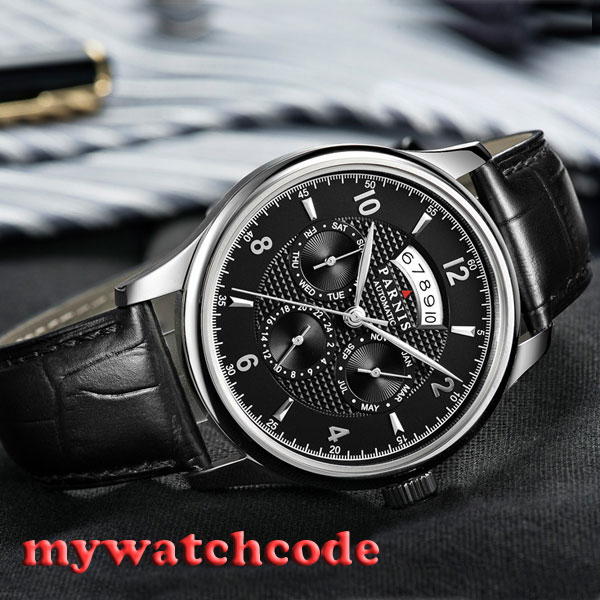 42mm parnis black dial Sapphire Glass 26 jewels miyota Automatic mens Watch P535 42mm parnis black dial multifunction sapphire glass black leather strap 26 jewels miyota 9100 automatic mens watch