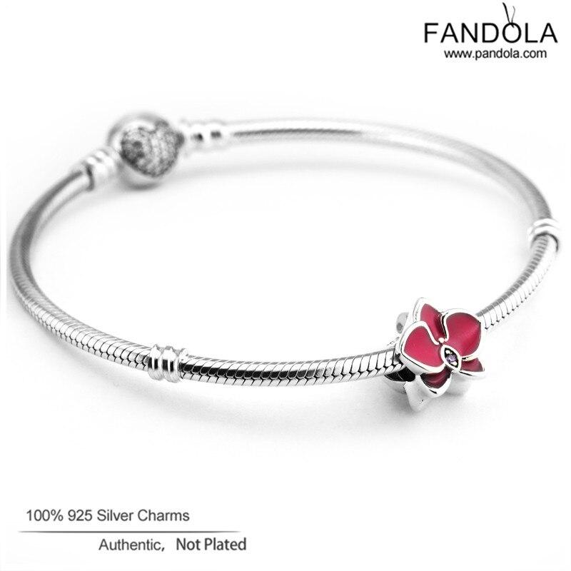100% 925 Sterling Silber Radiant Orchid Flower Charm Perlen für die - Edlen Schmuck - Foto 4
