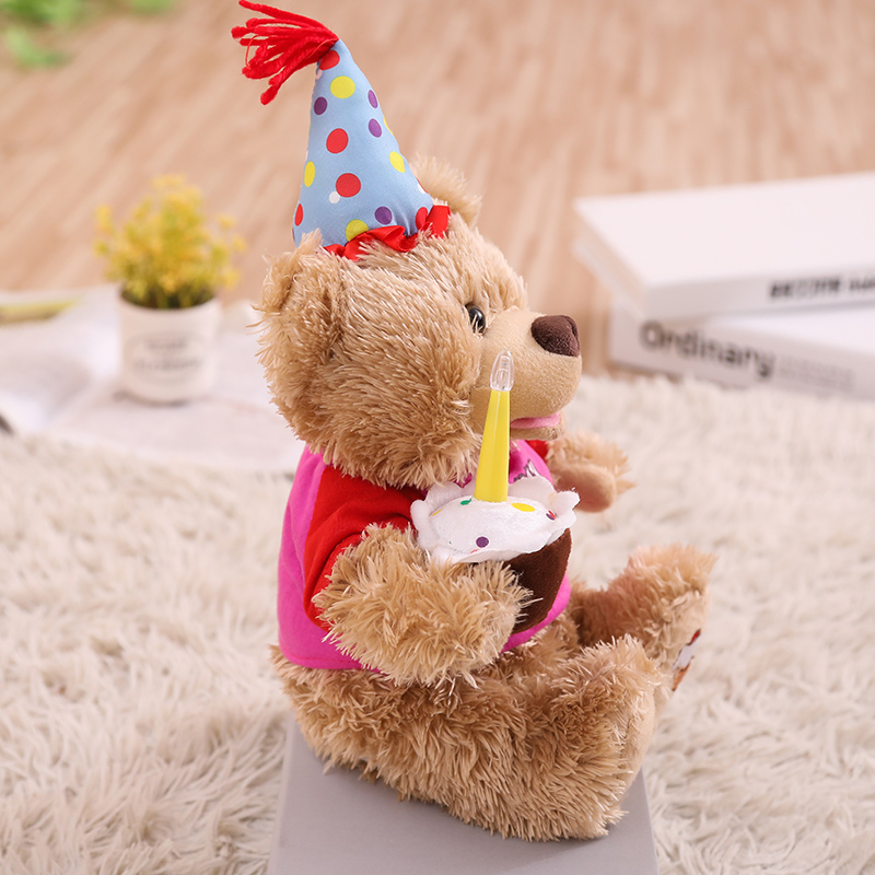 Humor Ted ElectronicMusical Plush Bearwith Birthday CakeSinging And Talkinglights In The Candletoys Gifts For Stuffed Animals