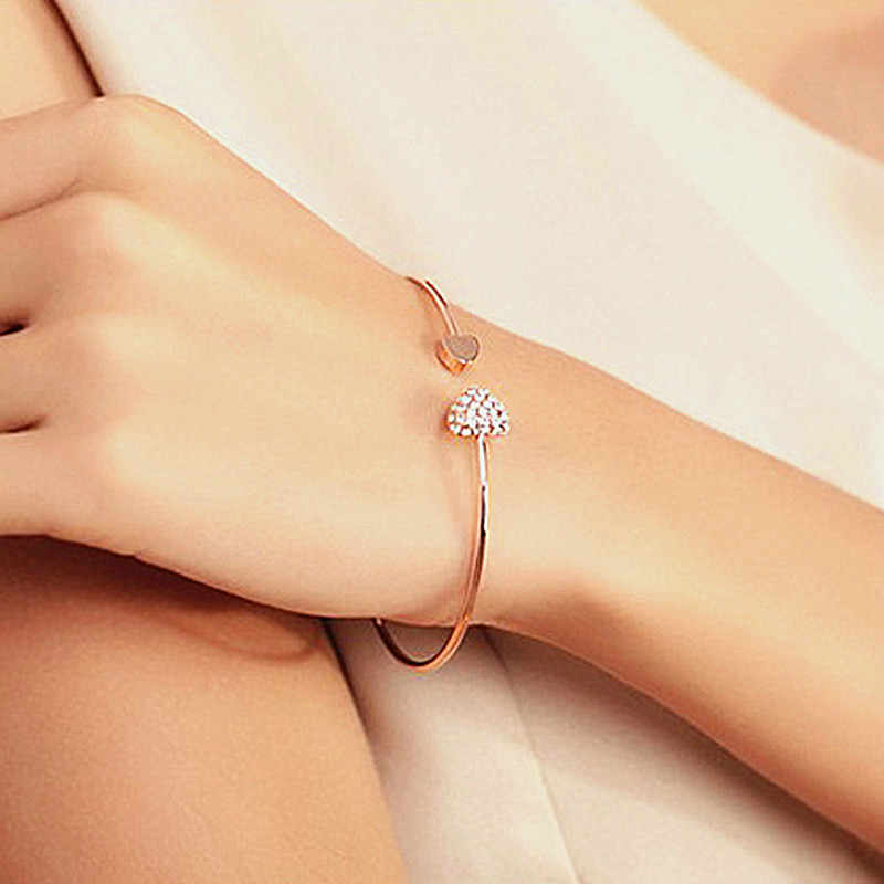 2019 Hot New Fashion Adjustable Crystal Double Heart Bow Chain & Link Bracelets For Women Jewelry Gift