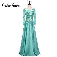 Модное Вечернее Платье с круглым вырезом 2018, сексуальное шифоновое платье с длинными рукавами и трехмерной вышивкой, женское вечернее плат