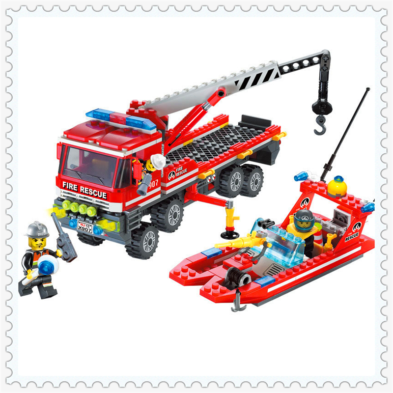 ENLIGHTEN 907 Fire Rescue Boat Crane Truck Model Building Block Compatible Legoe 417Pcs DIY   Toys For Children 607pcs enlighten building block fire rescue scaling ladder fire engines 5 firemen educational diy toy for children