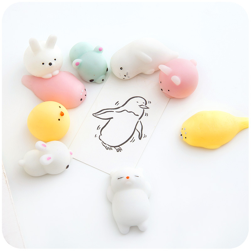 1 Pcs Squishy Anti Stress Toys Luminous Cute Seals Rabbit Soft Rubber Small Animals Toy Funny Squeeze Stress Relief Gift