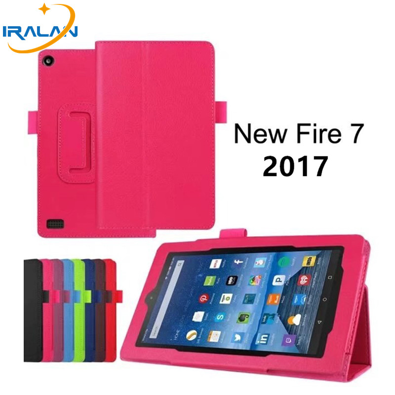 Hot Luxury Litchi Skin PU Leather Stand Folio Case For Amazon kindle fire HD 7 2017 7.0 inch Flip Protective Cover + Stylus pen new kindle fire hd8 flip pu leather case cover colorful print luxury protective stand shell for amazon new kindle fire hd 8 2016