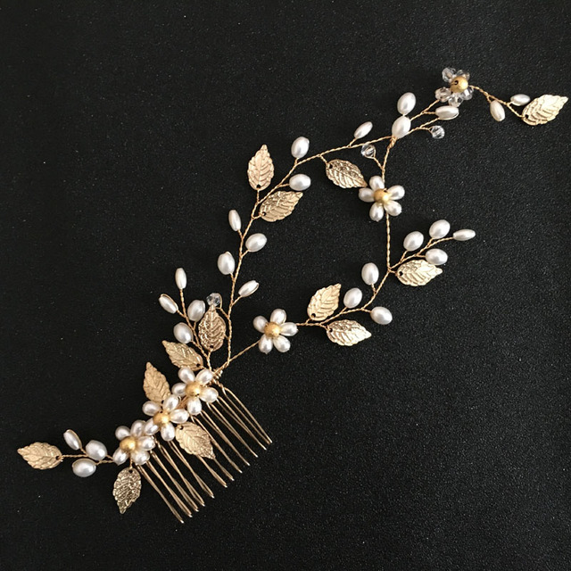 SLBRIDAL oro Cristal Diamantes de imitación perlas flor hoja boda joyería  peine nupcial diadema accesorios para 635d0d33ad1a