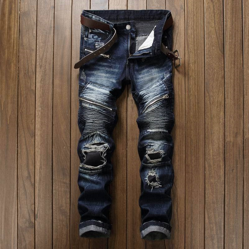 Newsosoo Fashion Men\`s Ripped Pleated Biker Jeans Pants Washed Slim Fit Denim Motorcycle Denim Trousers Straight For Male (16)