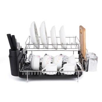 Estante para platos de doble nivel, escurridor para platos de acero inoxidable, recipiente para secado, cubertería, accesorios para estante de cocina multifuncional