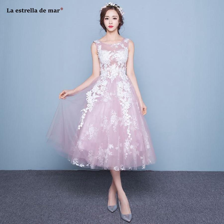 Vestido madrinha2018 new sexy V neck back Tulle Tea Length Blush pink bridesmaids dresses pretty bohemian wedding guest dress