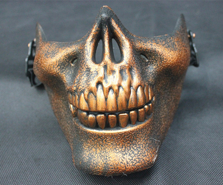 Gift New Skull Skeleton Airsoft Paintball Half Face Protective Mask For Halloween
