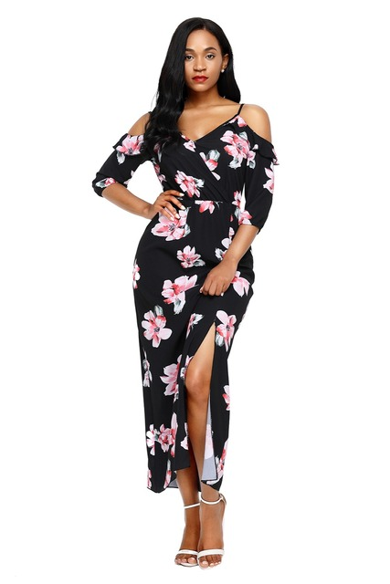 3/4 sleeves Casual Boho Dress Women V neck Beach Wear Printed Maxi Dress  Party