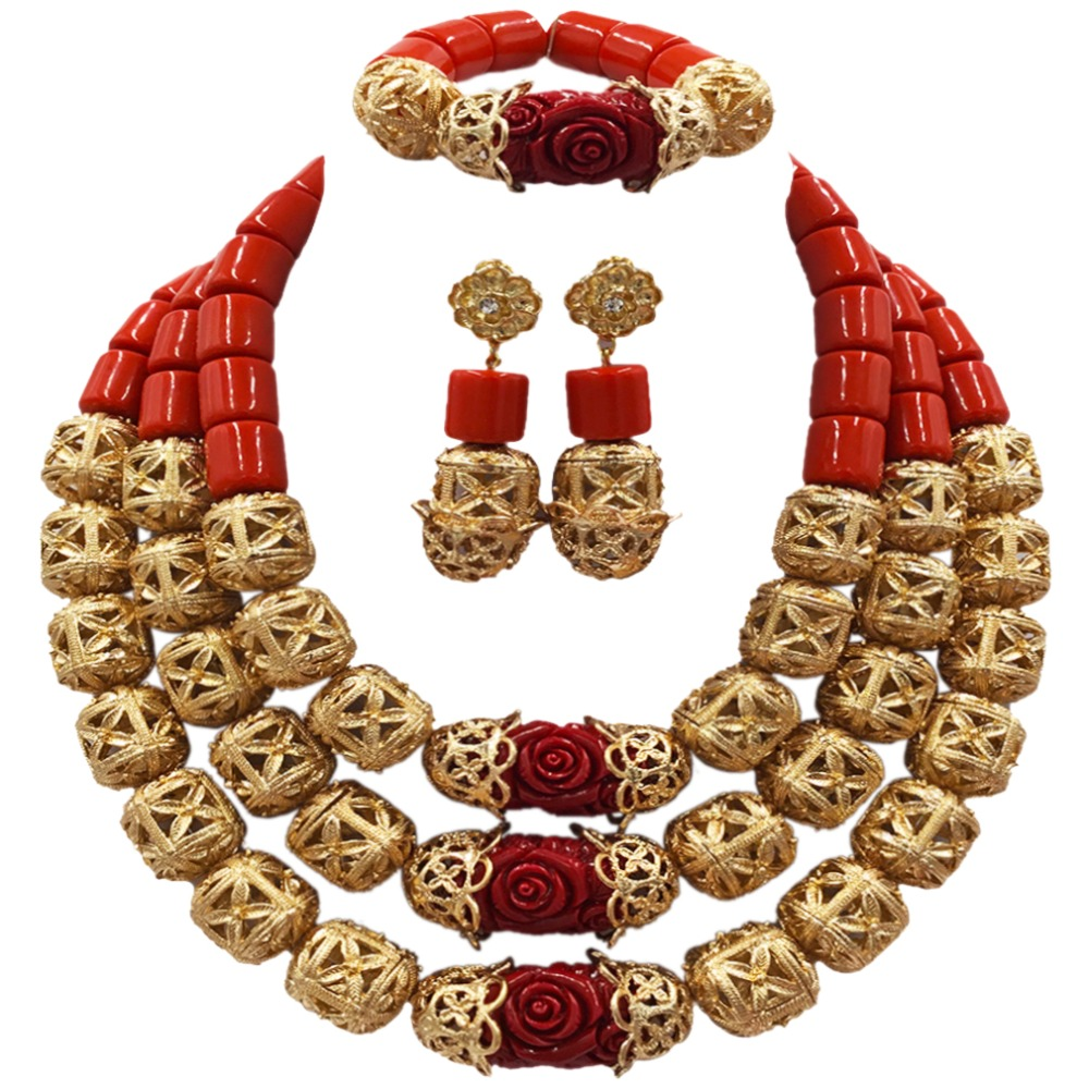 New Orange Red Artificial Coral Necklace Nigerian Wedding African Beads Jewelry Set for Women ACB-05 latest yellow and gold beaded artificial coral nigerian wedding african beads jewelry set acb 11