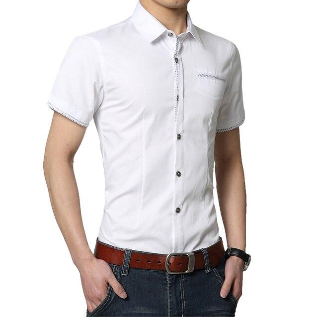 Большой размер твердые летняя рубашка мужчин 2016 Новый стиль с коротким рукавом мужчины рубашка 4XL мужчины бизнес свободного покроя мужчины рубашка с отложным воротником