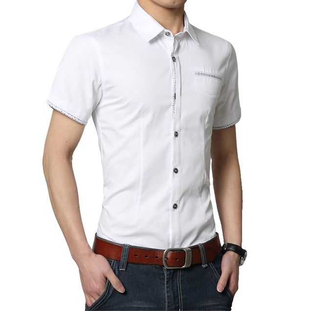 Plus Size Solid Summer Shirt Men 2016 New Style Short Sleeve Men Dress Shirt 4XL Men Business Casual Men Shirt Turn Down Collar