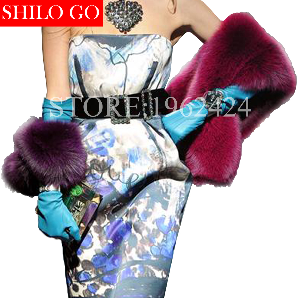 Plus size top 2017 winter new fashion women high-quality party banquet Milan show hit purple color purple fox fur shawl scarf