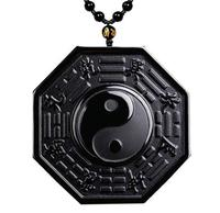 Natural Obsidian Yinyang Fish Taiji Bagua pendant jewelry Men's Necklace Amulet women's Crystal Pendant