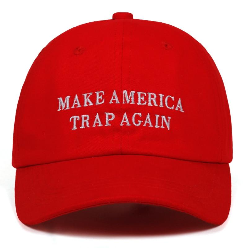 High Quality Letter MAKE AMERICA TRAP AGAIN dad   Cap   Cotton   Baseball     Cap   For Men Women Hip Hop Dad Hat Bone Garros