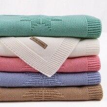 Couverture de bébé tricotée en acrylique pour nouveau nés, tissu dété enroulé pour poussette, couette mensuelle pour enfants