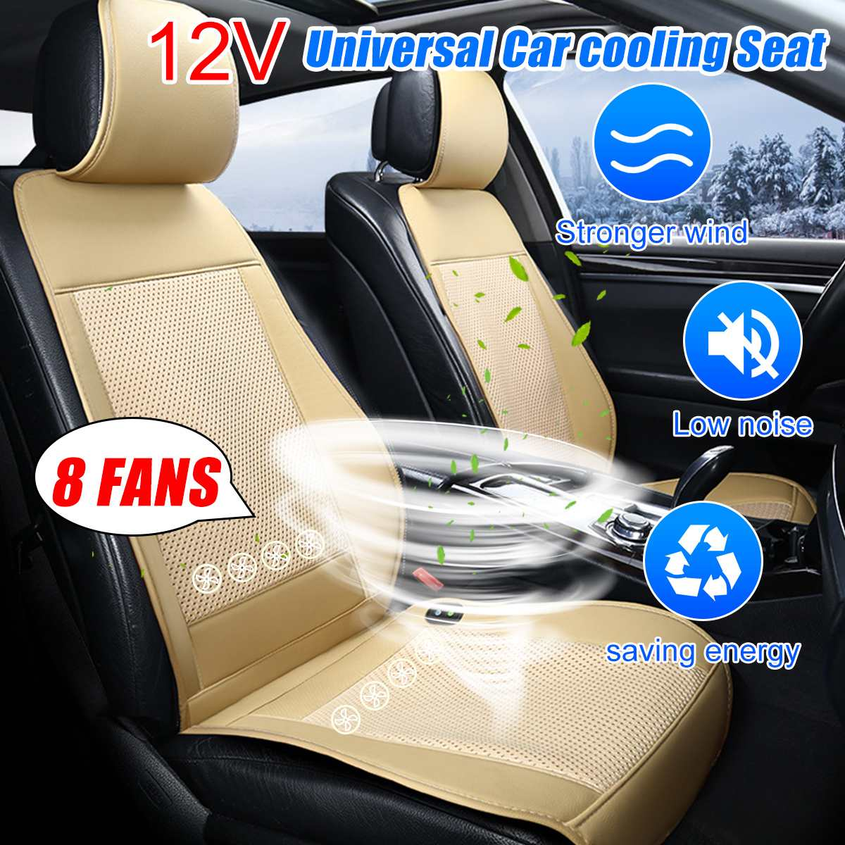 12V 4/8 Built-in Fan 3 Speeds Cooling Car Seat Cushion Cover Air Ventilated Fan Conditioned Cooler Pad Seat Cushion Covers