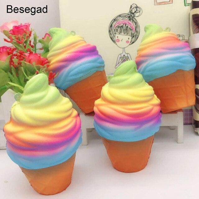 Besegad Jumbo Grande Bonito Kawaii Ice Cream Cone Food Mole Squishi Lento Subindo Alivia O Estresse Ansiedade Adereços Brinquedo para Adultos