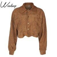 Weekeep 2017 Women Corduroy Coats And Jackets Fashion Casual Autumn Khaki Jacket Casaco Wide Waisted Turn