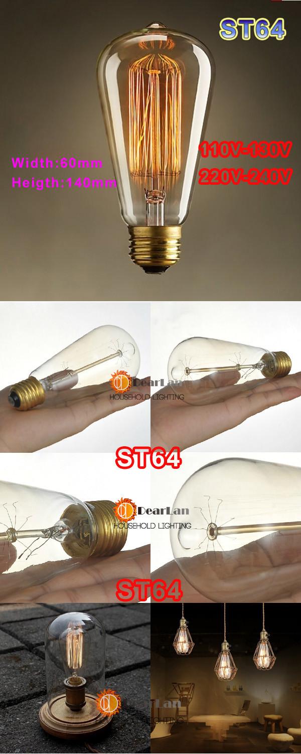 цена оптовой продажи, винтаж творческий Эдисон лампы, лампочки incandiscent для украшения гостиная, спальня, st64 Лампа/А19/телефона g80