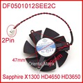 ZUNSHAN DF0501012SEE2C 12 V 0.05A 47mm Para Safira X1300 HD4650 HD3650 Placa Gráfica Cooler Fan 4Pin