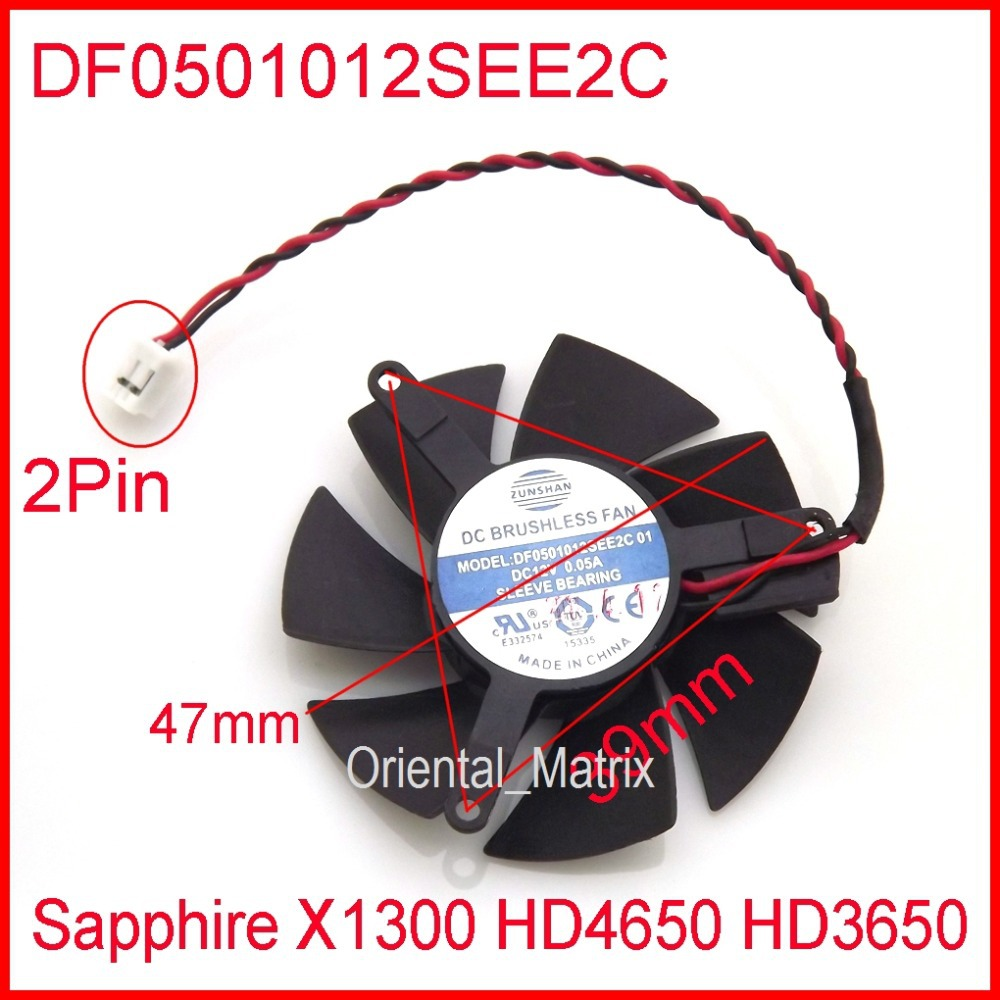 ZUNSHAN DF0501012SEE2C 12V 0.05A 47mm For Sapphire X1300 HD4650 HD3650 Graphics Card Cooler Fan 4Pin computador cooling fan replacement for msi twin frozr ii r7770 hd 7770 n460 n560 gtx graphics video card fans pld08010s12hh