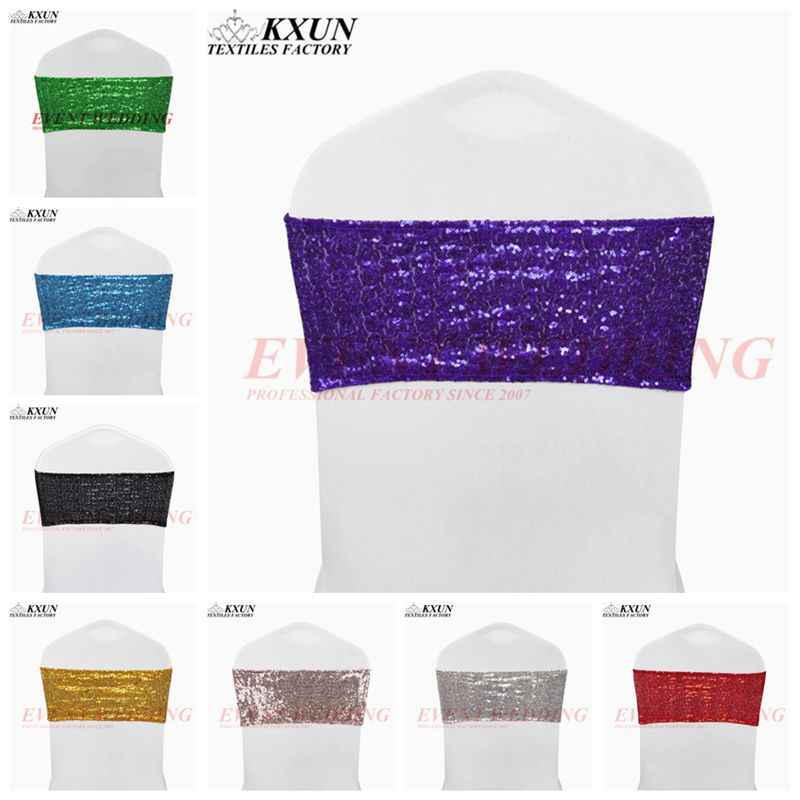 Hot Sale Spandex Sequin Chair Band Sash Elastic Stretch Glitter Chair Cover Bow Ties Hotel Party Wedding Decoration