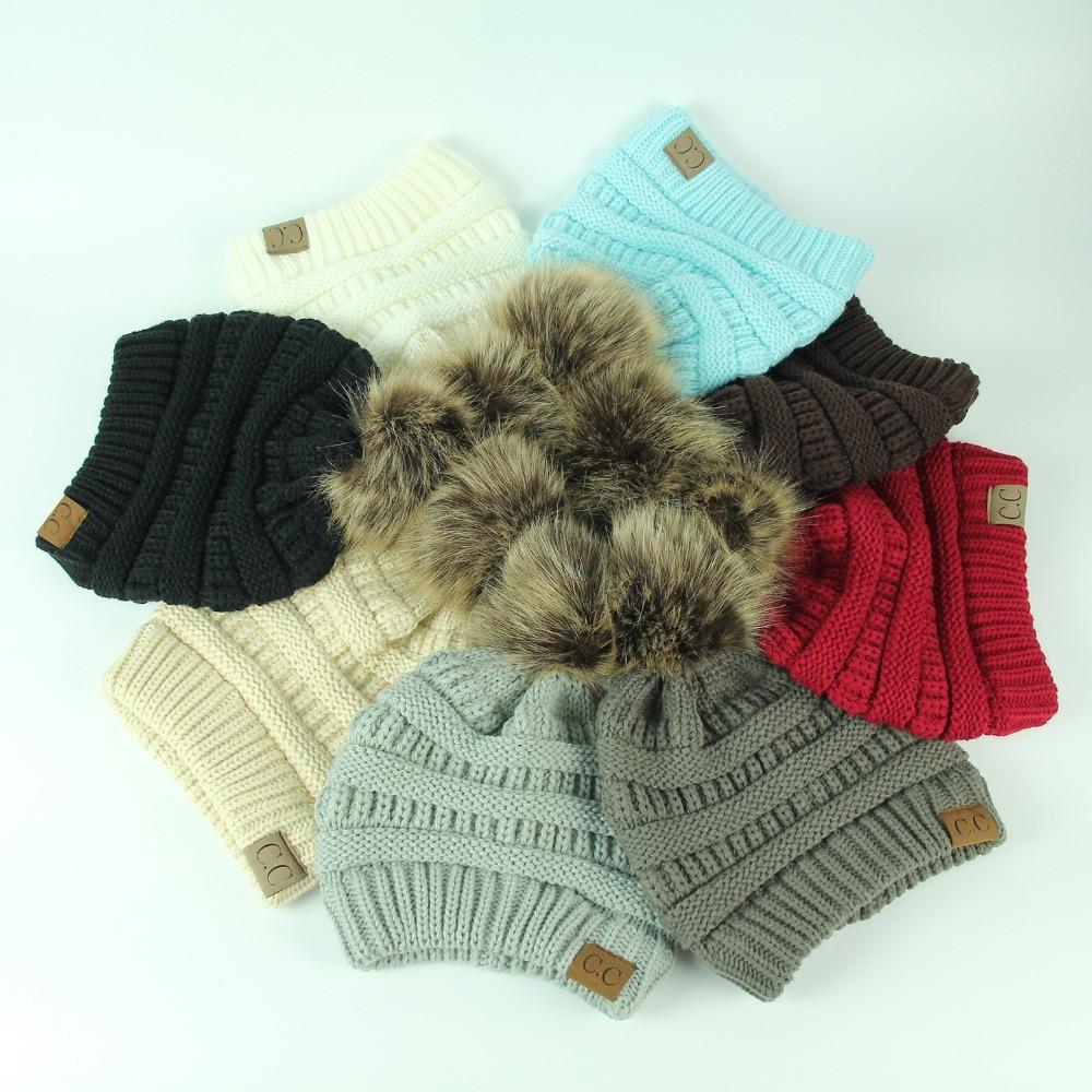 bf2f35a1dc436 ... Women Winter Warm hat Beanie CC with Cute Faux Fur Pom Pom Ball knitted  cap Skully ...