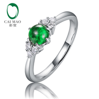 Caimao 0.53ct Natural Round Cabochon Emerald 14kt Gold Full Cut Diamond Engagement Ring for Women Exquise