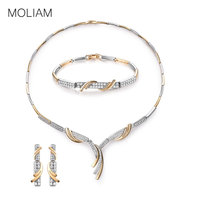 MOLIAM Bridal Wedding Jewelry Sets Women Luxury Crystal Cubic Zircon Engagment Earrings Bracelet Pendant Necklace Set MLT809