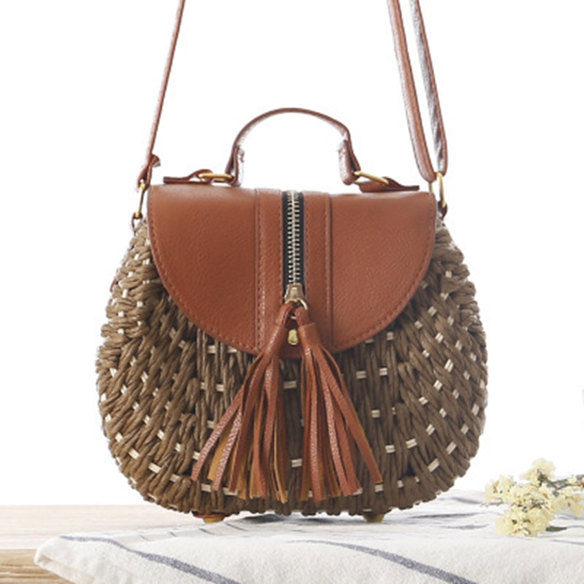 New style rope woven bag College wind small fresh rattan straw bag Beach holiday shoulder women's woven bag цена