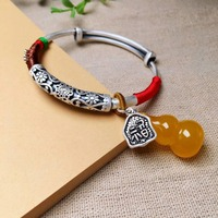 S999 plain silver DIY artistic female bracelet with faluo pendant can push and pull the goddess pure and fresh silver bracelet