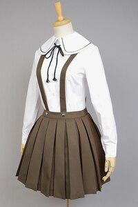 Image 5 - Danganronpa Cosplay de Fujisaki Chihiro para mujer, uniforme escolar, abrigo, camisa, traje, Cosplay de Anime, peluca, Halloween, 6 uds.