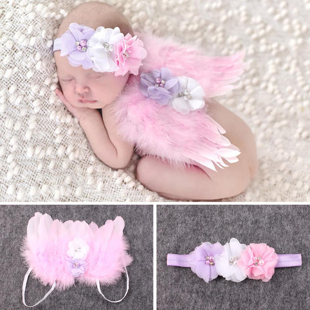 0 Bis 6 Monate Nette Baby Federflügel Stirnband Set Mädchen Engel Flügel Gesetzt Feder Neugeborenen Fotografie Requisiten Rosa Rot