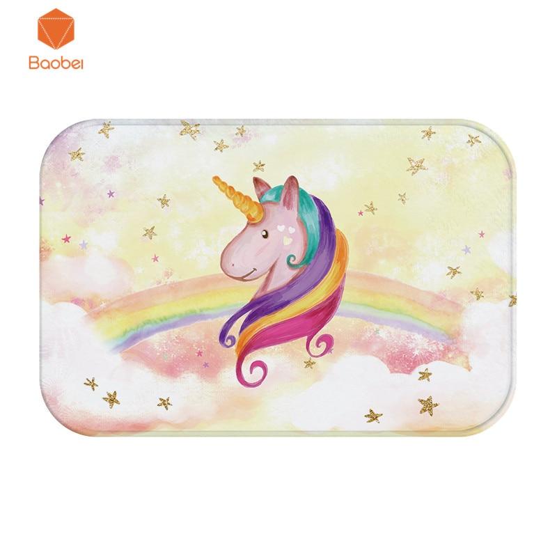 3d Unicorn Rainbow Coral Fleece Thicking Hallway Carpet