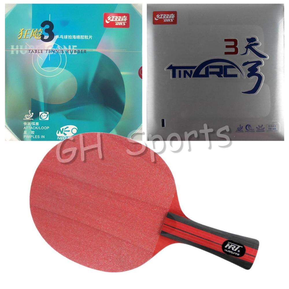 Pro Table Tennis PingPong Combo Racket Racket HRT Red Crystal with DHS NEO Hurricane 3 and TinArc 3 Long Shakehand FL  hrt 2091 blade dhs neo hurricane3 and milky way 9000e rubber with sponge for a table tennis racket shakehand long handle fl
