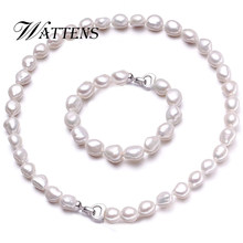 WATTENS Baroque Pearl Jewelry Sets natural pearl Necklace Bracelet Pearl Sets Women Party Jewelry Wedding Jewlery Christmas Gift(China)