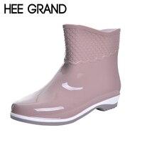 HEE GRAND Women S Rubber Boots Scale Films Pattern Ankle Rainboots Waterproof Flat Heel Rainning Shoes